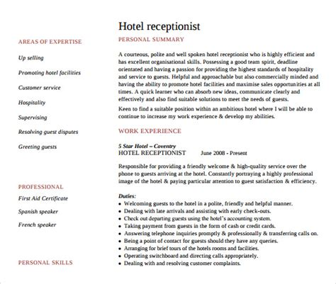 Resume Sle For Hotel Receptionist Hotel Receptionist Resume 28 Images Receptionist Resume Template 7 Free Word Pdf Document