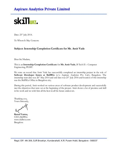 application letter for internship certificate internship completion certificate amit vade
