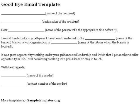 goodbye email template email template for bye template of bye email