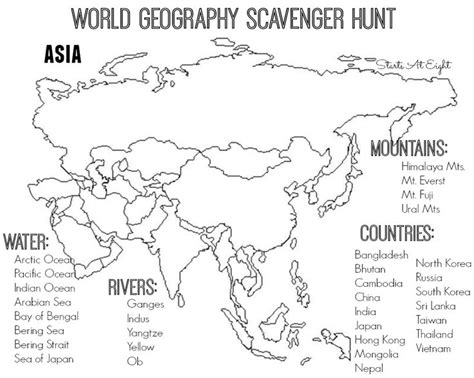 printable world map for school world geography scavenger hunt asia free printable