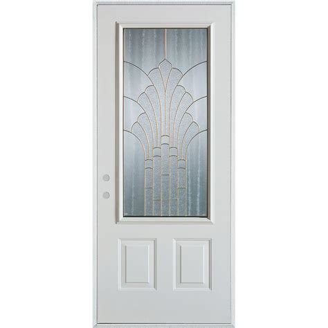 Stanley Exterior Door Stanley Doors 36 In X 80 In Deco 3 4 Lite 2 Panel Painted White Steel Prehung Front Door