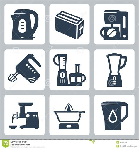 vector kitchen appliances icons set stock vector