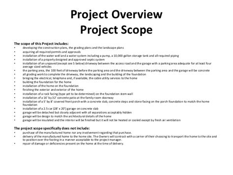 landscaping scope of work template construction project management class project presentation