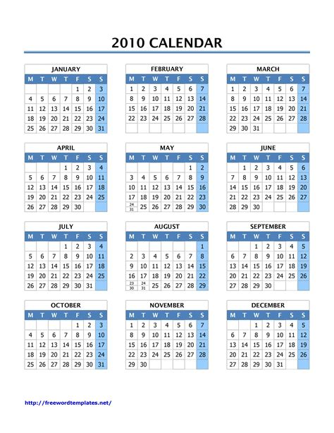 2010 Calendar Template 28 Images Free Printable Monthly Calendar July 2008 Mentoni Yearly Microsoft Word 2010 Calendar Template