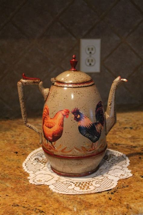 rooster decor kitchen rooster tea pot kitchen decor country decor rooster