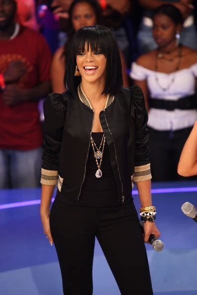Rihanna Sports Some Killer Heels At Bets 106 Park In New York by More Pics Of Rihanna Medium Cut With Bangs 9 Of