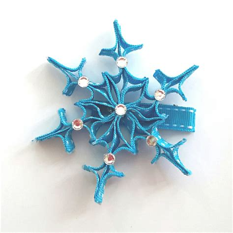 how to make a snowflake hair clip quot frozen quot snowflake ribbon hair clip bugalugs boutique