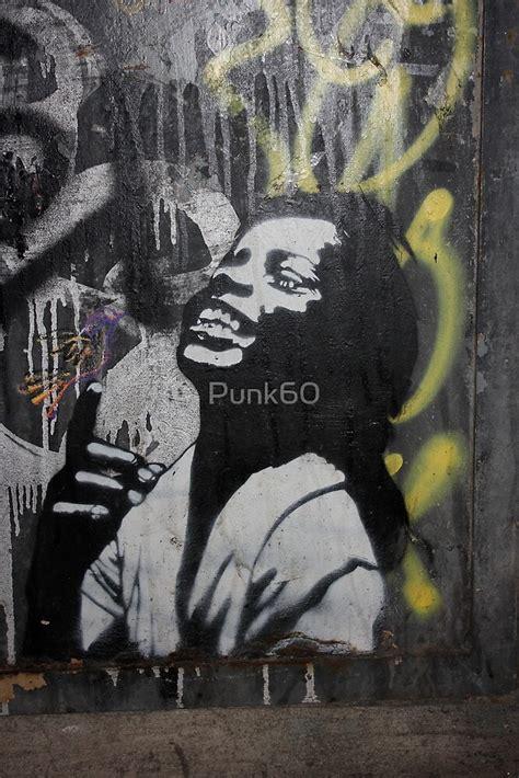 banksy style stencil graffiti happy  punk