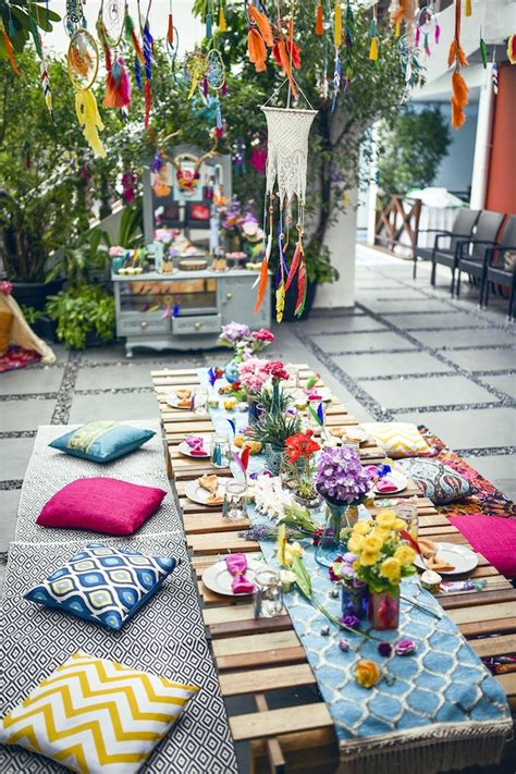 bohemian decorating ideas project awesome photos on with bohemian colorful guest table from a boho tribal birthday party on
