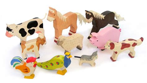 Handcrafted Wooden Animals - farm animals 10pc handcrafted wooden animals by h