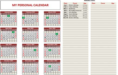 Custom Printable Calendars Excel Template Indzara Custom Excel Templates