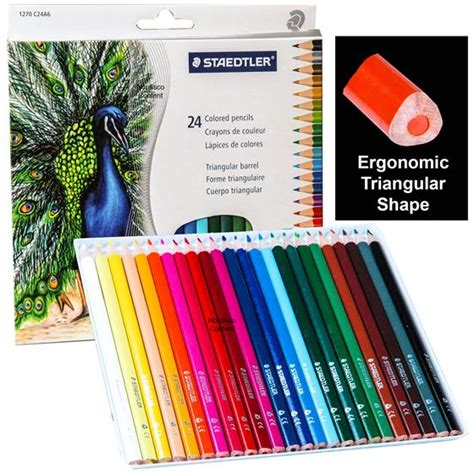 staedtler colored pencils staedtler 1270c24a6 triangular colored pencils set of 24