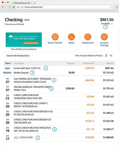 Tracking Transactions Suntrust Facts About Banking Suntrust Bank Statement Template