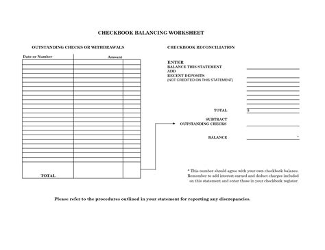 17 best images of checkbook reconciliation worksheet printable printable balancing checkbook