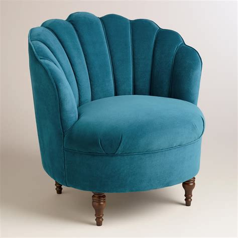 Peacock Blue Chair Peacock Blue Velvet Telulah Chair World Market