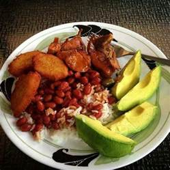 dominican republic rice beans meat and plantains commonly known as the