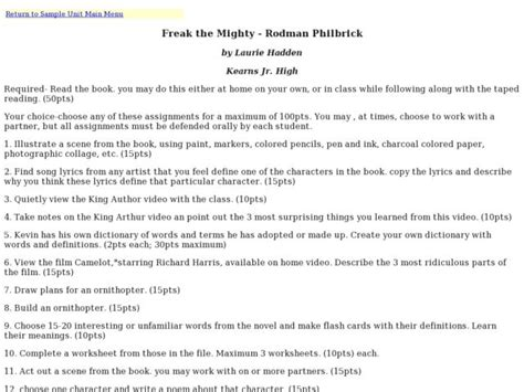 Freak The Mighty Vocabulary Worksheets by Freak The Mighty Essay