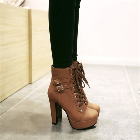 Lace Up Chunky Heel Shoes shoespie lace up chunky heel ankle boots shoespie