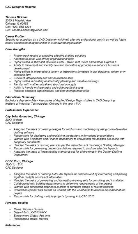 cad designer resume best letter sle