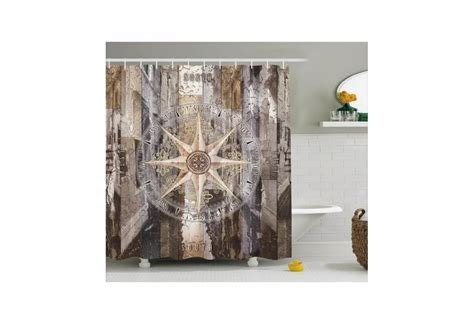 Tropical Curtain Panels Rustic Wood With Copass Nautical Theme Shower Curtain