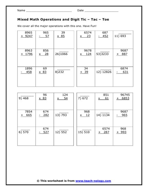 printable math worksheets mixed operations mixed math operations and digit game
