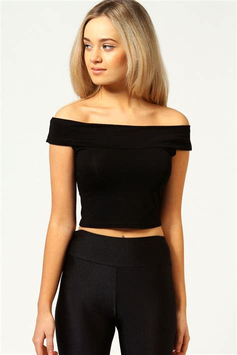 New Cropped For by New Womens Plain The Shoulder Sleeveless Bardot
