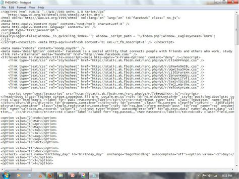 Fb Html Code | notepad codes how to hack fb password
