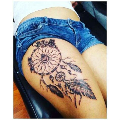 dreamcatcher thigh tattoos best 25 dreamcatcher thigh ideas on