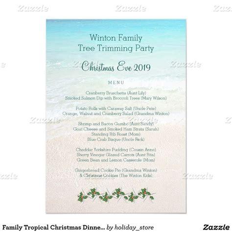 family tropical christmas dinner menu template trees