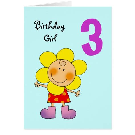 Three Year Birthday Card 3 Year Old Birthday Girl Greeting Card Zazzle