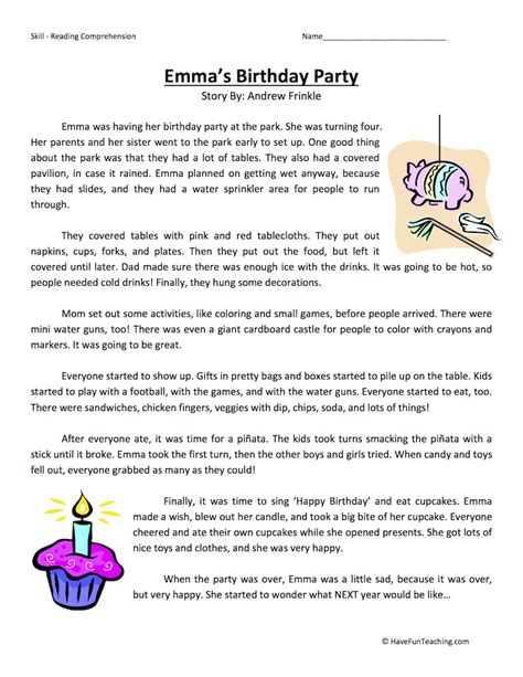 themes reading comprehension fourth grade reading comprehension worksheet emma s