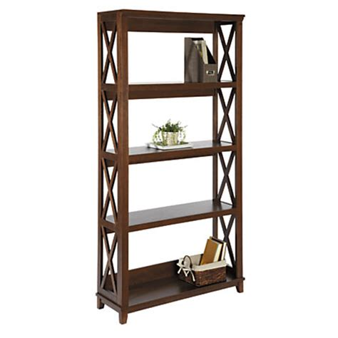realspace desk chestnut by office realspace newbury bookcase 4 shelves 77 h x 36 34 w x 15 d chestnut by office depot officemax