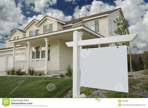blank home blank real estate sign home stock photo image 7302698