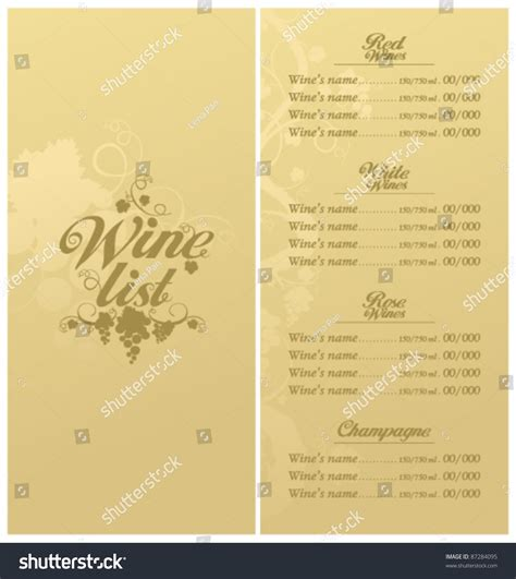 wine card template wine list menu card design template stock vector 87284095