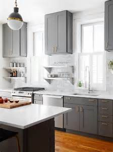 Grey Kitchen Cabinets With White Countertops Gray Shaker Kitchen Cabinets With Engineered White Quartz Countertops Transitional Kitchen