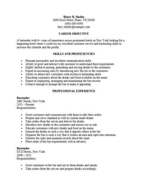 Free Bartender Server Resume Template   Sample   MS Word