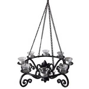 Outdoor Votive Candle Chandelier Shop Allen Roth 19 In X 19 In Black Metal Votive Candle
