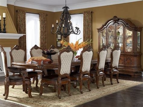 Mediterranean Dining Room Furniture Aico Tuscano Trestle Rectangular Dining Table Set In Melange Mediterranean Dining Room
