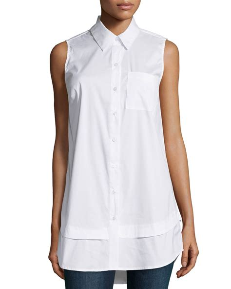 Macy S White Button Blouse by Sleeveless White Blouse Button Front Lace Henley Blouse