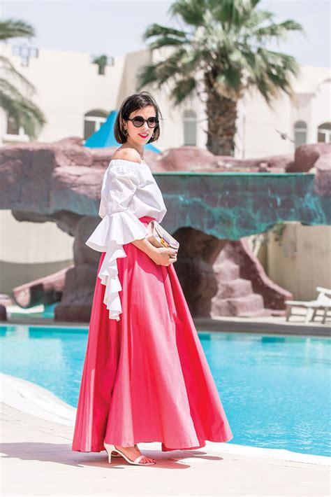 Maxi Stefanie Top N Skirt pink maxi skirt ruffle top bonjour chiara