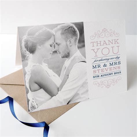Wedding Thank You Gift Card - eva wedding photo thank you cards by project pretty notonthehighstreet com