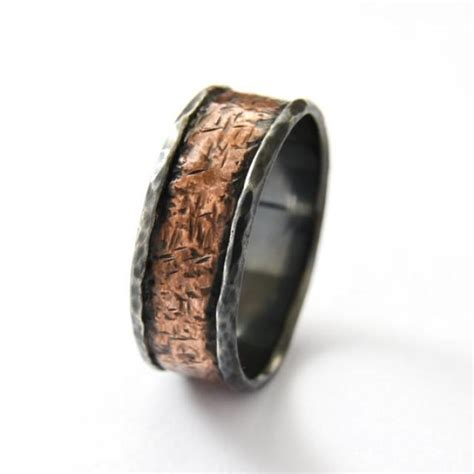 rustic copper silver band oxidized silver copper