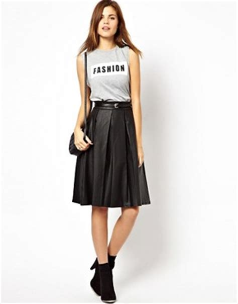 a wear a wear leather look midi skater skirt at asos