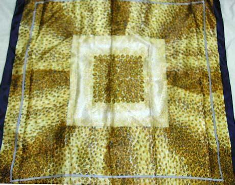 Pashmina Motif White Yellow scarf bandana neckchief satin square scarf floral