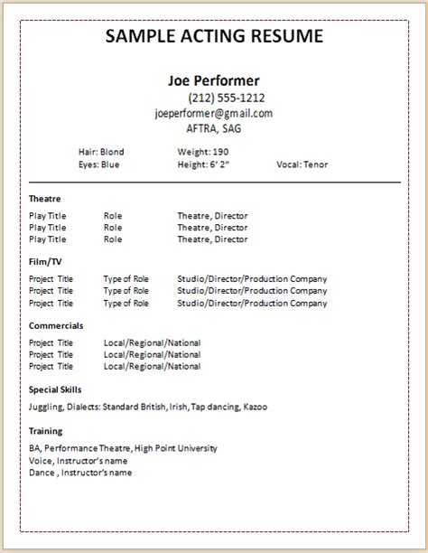 Performer Resume Template acting resume template acting resume template by