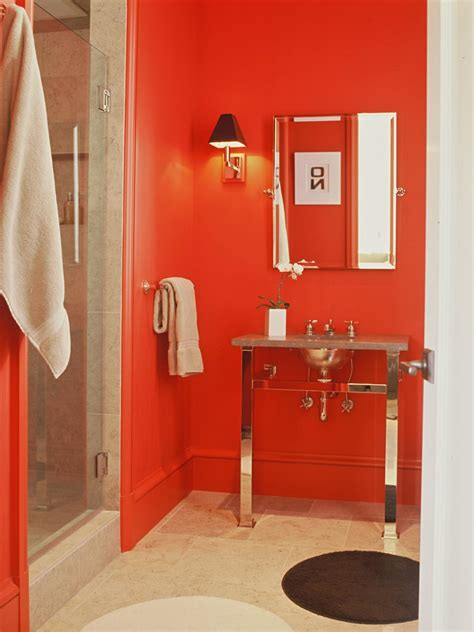 small red bathroom ideas red bathroom decor pictures ideas tips from hgtv hgtv