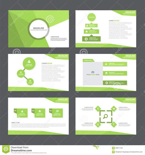 green abstract polygon presentation template infographic