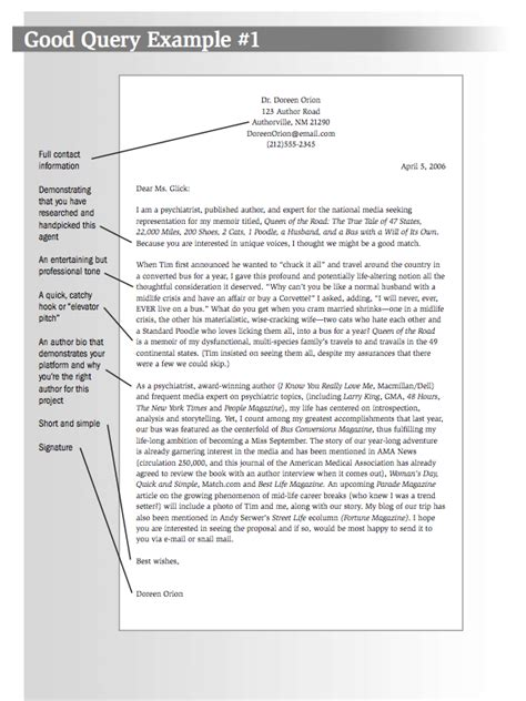 Business Query Letter Format The Query Letter Writersdigestshop