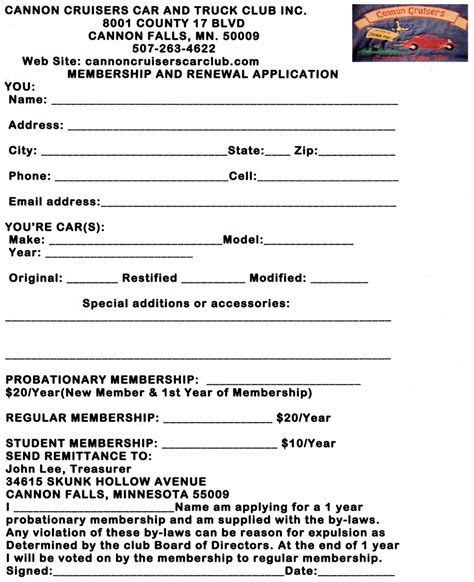 member registration form template pics for gt club application form template