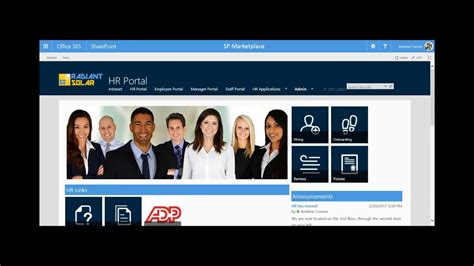 Sp Hr Portal Human Resources For Office 365 And Sharepoint Youtube Free Sharepoint Hr Template